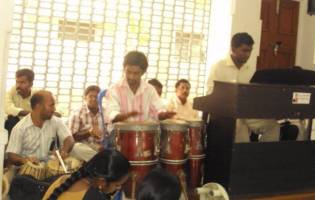 Students worshipping at a biblical seminary in India.