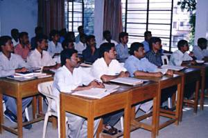 Students in a class at a theological seminary.